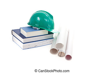 helmet, books and schemes isolated on white background