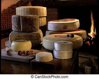 CHEESE italian cheeses on a table - Various italian cheeses...