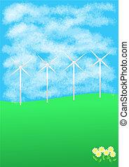 Wind turbines on hill