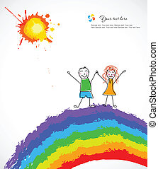 Colorful background with happy child on rainbow. Vector