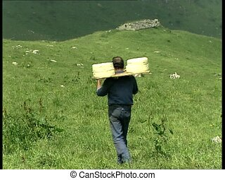 CHEESE farmer carrying cheeses