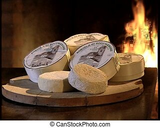 CHEESE robiola on a table - Various pieces of robiola, an...