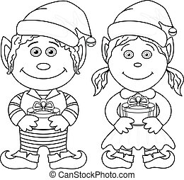 Christmas elves, boy and girl, outline
