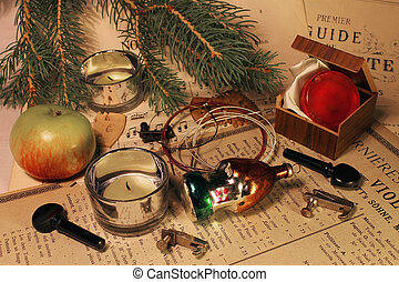 Rosin and candles - The still life from a branch of a...