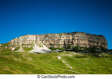 clear blue sky and green grass Ciscaucasia summer landscape