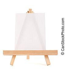 Wooden easel with white canvas over white background