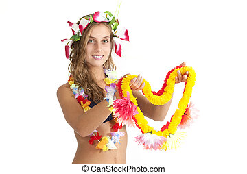 Attractive Girl Offers a Flower Lei - Attractive girl offers...