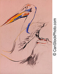 Pelican sketch - Old,grunge original pastel and hand drawn...