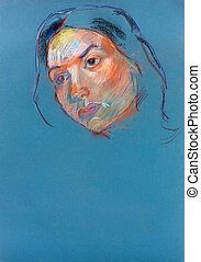 Woman portret - Old,grunge original pastel and hand drawn...
