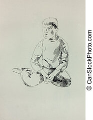 Sketch of a young boy - Old,grunge original b&w pencil and...