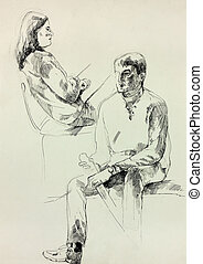 Man and woman sketch - Old,grunge original bw pencil and...