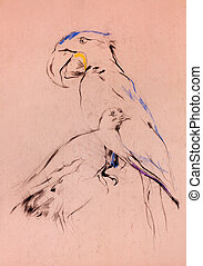 parrot and pigeon - Old,grunge original pastel and hand...