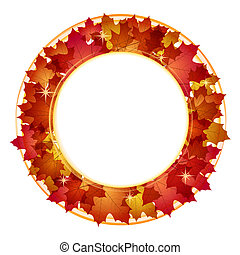Autumn banner with leaves - Autumn round banner with red...
