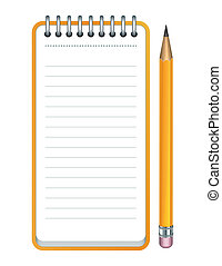Vector pencil and notepad icon - Yellow Pencil and notepad...