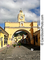 Arch in Antigua city - Old arch in historic colonial city of...