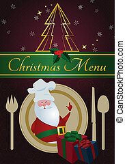 Christmas Menu - Santa with chefs hat,dinnerware...