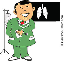 doctor in scrubs with x ray of lungs in background