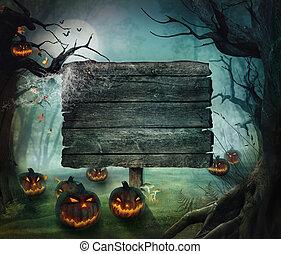 dia das bruxas, desenho, -, floresta, abóboras