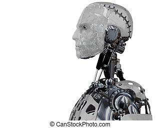 Male cyborg head in profile.