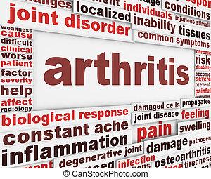 artrite, doença, cartaz, conceito