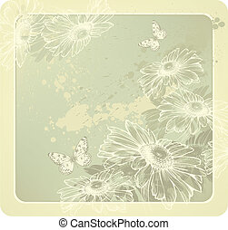 Background template with blooming daisies hand-drawing....