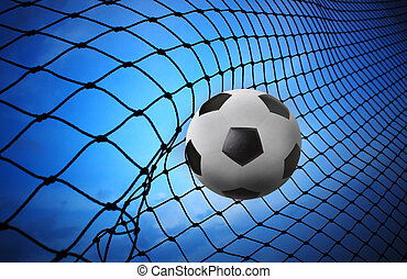 soccer football shoot into goal net