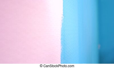 Painting Walls. Close-up. Roller - Close up of a painting in...
