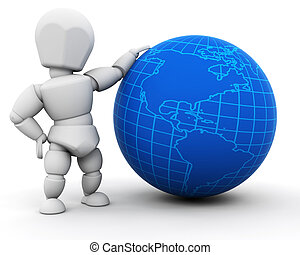 Person with globe