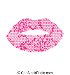Pink lacy lips applique May be used as decoration