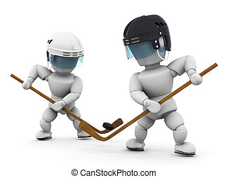 Face off - 3D render of ice hockey players