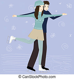 couple on the skating rink - vector illustration of the...