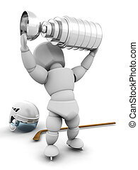 Ice hockey player with trophy - 3D render of an ice hockey...