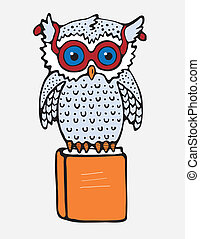 Cartoon Owl - Vector image. Owl that sits on the orange book