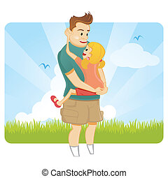 Fathers day - Father and daughter at spring background
