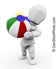 Person with beach ball - 3D render of someone with a beach...