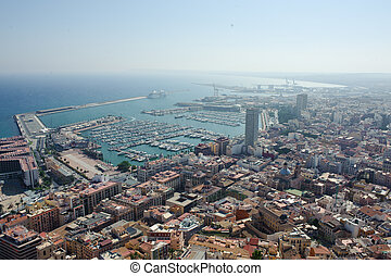 Aerial view of Alicante at dusk