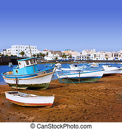 Arrecife in Lanzarote Charco de San Gines boats in Canary...