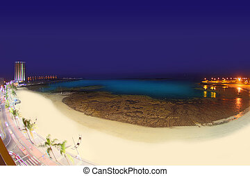 Arrecife Lanzarote Playa del Reducto beach aerial night view...