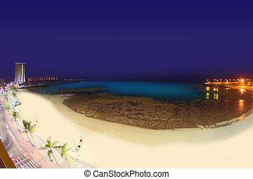 Arrecife Lanzarote Playa del Reducto beach aerial night view...