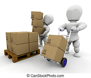 Moving boxes - 3D render of people moving boxes