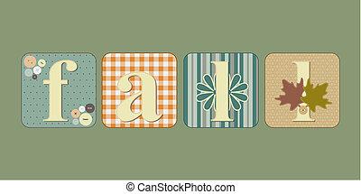Fall lettering illustration - Vector illustration of...
