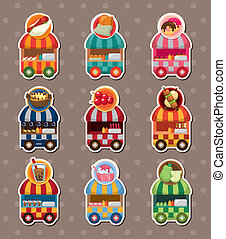 set of party shop market cart stickers