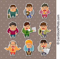 Tired businessman stickers