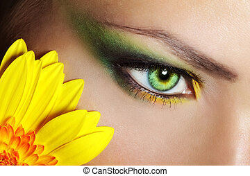 Beautiful Eye Makeup with gerber flower - Beauty female eye...