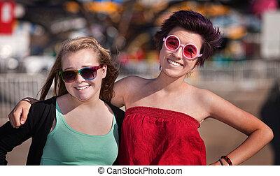 Two Teen Girls Outside