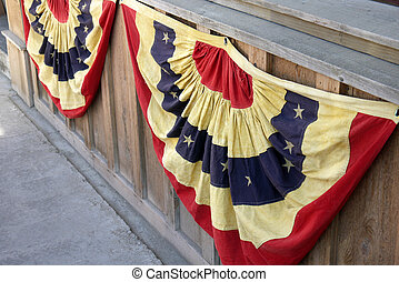 Patriotic Red White and Blue Bunting - A bandstand decked...