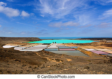 Lanzarote saltworks salinas de Janubio colorful Canary...