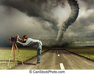 woman and tornado - woman, taking photo by vintage camera...