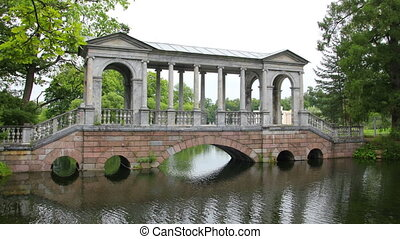 pavilion on lake in Pushkin park St. Petersburg Russia -...