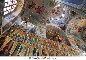 Interior of the Assumption Cathedral in Valday monastery ,...